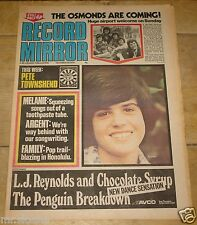 RECORD MIRROR 28 OCT 1972 OSMONDS MELANIE ARGENT FAMILY SLADE PIONEERS SABBATH