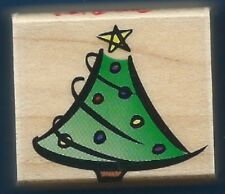 CHRISTMAS Holiday TREE Print Design Card Tag Hero Arts A1451 Wood Rubber Stamp