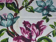 3 Pcs VIntage Mid Century Markwood Barkcloth Fabric Tropical Print Pink Aqua
