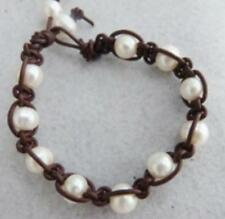 "Dark brown 8"" 9-10mm freshwater pearl Braided Genuine Leather Cord Bracelet"