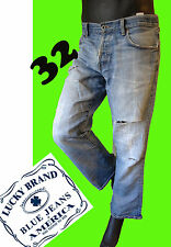 Lucky brand 32 distressed jean pant destroyed patch patchwork blue 5 pocket