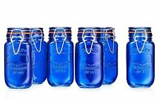 HC  Home Airtight Food Storage Glass Canister Jar With Lid Set Of 6 Blue Cobalt