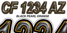 BLACK ORANGE Boat Registration Numbers or PWC Decals Stickers Graphics Hull Id