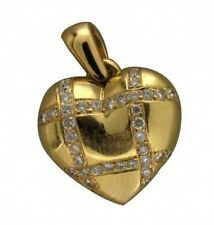 Estate 18k Heavy Yellow Gold Pave Set Round Diamond Heart Hinged Locket Pendant