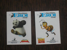2 adesivi sticker Eroi Dreamworks esselunga Kung Fu Panda - Bee Movie