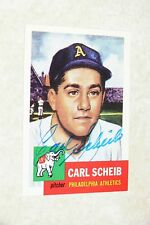 CARL SCHEIB SIGNED AUTOGRAPHED 1991 1953 TOPPS ARCHIVES CARD # 57 ATHLETICS