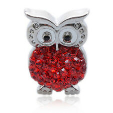 NEW Clay Rhinestone OWL Charm Chunk Snap Button for Noosa Bracelet Necklace KP01