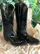 BACK AT THE RANCH BOOTS Lesley Black Patent Leather with Vibram Sole SZ 9