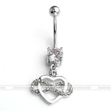 Silver Stainless Steel CZ Infinity Heart Charm Belly Navel Ring Piercing 14G Bar