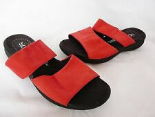 Ladies HUSH PUPPIES comfort red suede leather slip on sandals/shoes/wedges  7