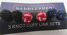 SADDLEBRED  3 Knot Cuff Link Set NEW In Plastic Box