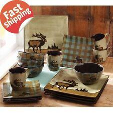 Plates Mugs Bowls Dinnerware Rustic Cabin Ceramic Moose Elk16 Pc Dish Stoneware