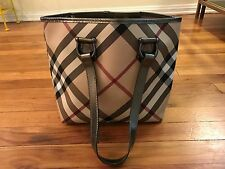 BURBERRY NOVA CHECK CANVAS & LEATHER TOTE SHOULDER BAG