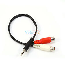 3.5mm Aux Male to 2 RCA Female M/F Stereo Audio Cable Converter Adapter Adaptor