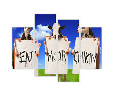 "LARGE CANVAS PRINTS COWS EAT MORE CHICKEN FUNNY WALL ART 35""(90cm) XXL PICTURES"