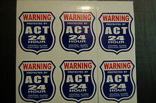 6 BURGLAR ALARM 24 hour SECURITY SURVEILLANCE DECAL STICKER  ADT 'l stickers