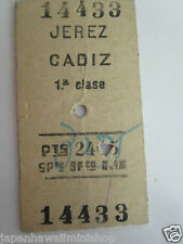 Boleto Edmondson Train Ticket Jerez de la Frontera - Cádiz Spain 1st class 1957