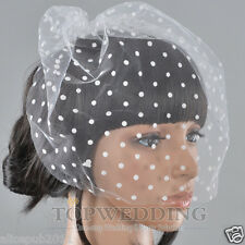 New White Wedding Fascinator Blusher Wedding Bridal Birdcage Veil w/ Dot Detail
