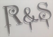 monogram silver mirror acrylic wedding cake letters toppers