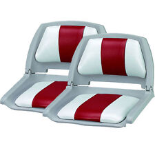 New Set of 2, Molded Fold Down Boat Seats/Fishing Seats, Grey/Red