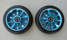 Pair 110mm Black on Blue Metal Core Scooter Wheels (2 Wheels) w/ABEC-11 Bearings