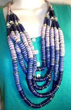 "Chico's signed necklace 26 - 29"" long purple & blue beads w/ silver stoppers NEW"