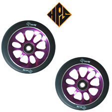 NEW 2 HURRICANE PRO STUNT SCOOTER PURPLE METAL CORE WHEELS 110mm ABEC 11 BEARING