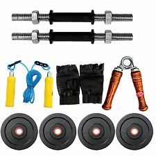 Fitfly Home Gym Set 10Kg Rubber Plate,Gloves , Skiping,dumbbells