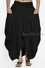 Black Color Womens Skirt Vintage Gypsy Hippie Casual Skirt Cotton With 2 Pockets