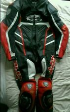 Arlen ness Red One Piece Motorcycle Leathers Suit, Large, Race Hump