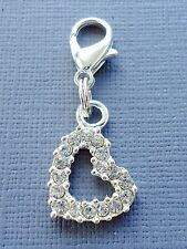 Crystal HEART Clip On Charm Lobster Clasp for Link Chain and floatin locket C4