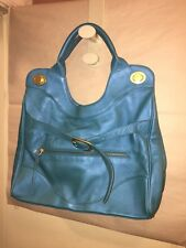 pre-owned authentic FOLEY & CORRINA large TEAL satchel TOTE purse CATCHALL great