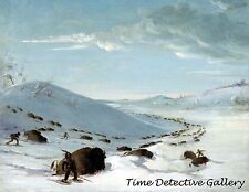 Buffalo Chase in Winter by George Catlin - 1832 - Historic Art Print