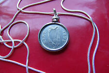 """1993 IRELAND COIN BEZEL PENDANT on a 30"""" 925 STERLING SILVER PLATE CHAIN. 20MM"""