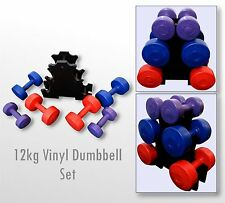 BodyRip Vinyl Hand Dumbbell Weight Set 12kg Holder Included Home Gym Workout