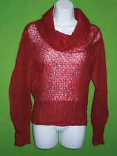 Mexx sweater red mohair blend cable knit cowl neck size M