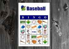 Baseball Sports Birthday Party Game Bingo Cards on Card Stock 10/20/30ct