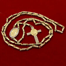 """Mens Hip-Hop Gold Plated 39"""" Iced Out Guadalupe Cross Rosary Bullet Chain R17"""