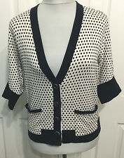 MARC by MARC JACOBS M black ivory polka dot cardigan sweater pockets