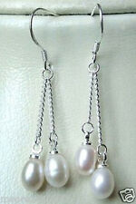 925 Sterling silver 6-7mm Cultured Freshwater genuine White Pearl Dangle Earring