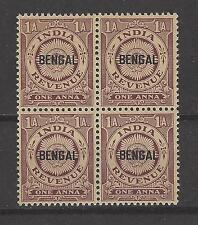 INDIA, BRITISH, BENGAL, MNH REVENUE, 1 ANNA,  Block of 4