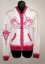 NWT ED HARDY CHRISTIAN AUDIGIER HOODIE JACKET DYE SPRAY Rhinestone Tiger Panther