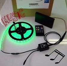 Battery Powered Music Controlled 5050 RGB LED Strip Light Kit WaterProof 16 ft
