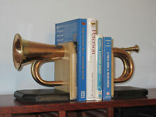 Handmade Bugle Bookends, Artistic-Music Theme,Great for Office, Den, Man Cave