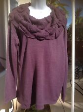 Design 365 New Woman's Large Sweater Purple with a Beautiful Wide Collar