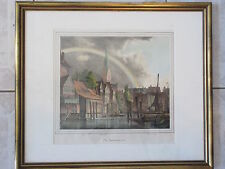Antique Colored Print Etching Town Rainbow Scene Germany Kunst