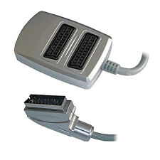 2 Two Way Scart Splitter Switch Box AV Adaptor 2 Devices into 1 TV - SENT TODAY