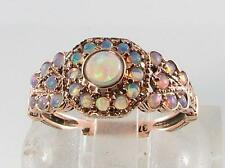 CLASS 9CT ROSE GOLD  VICTORIAN INSP 27 FIERY OPAL CLUSTER RING