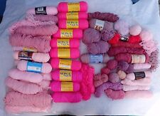 Lot of 10 Pounds of Pink Yarns  - Mostly Acrylic, Sport Weight, Some Baby (I5)