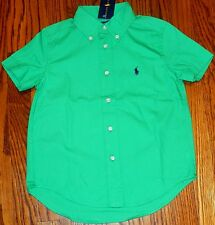POLO RALPH LAUREN AUTHENTIC TODDLERS BOYS BRAND NEW GREEN DRESS SHIRT Sz 3T, NWT